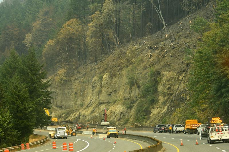 OUTLOOK PHOTO: JOSH KULLA - Cleanup crews are hard at work clearing and making Interstate 84 safe for travel again in the aftermath of the Eagle Creek Fire. Here, a hillside has been cleared of burned trees just west of Bonneville, while crews work to pile up and remove the debris.