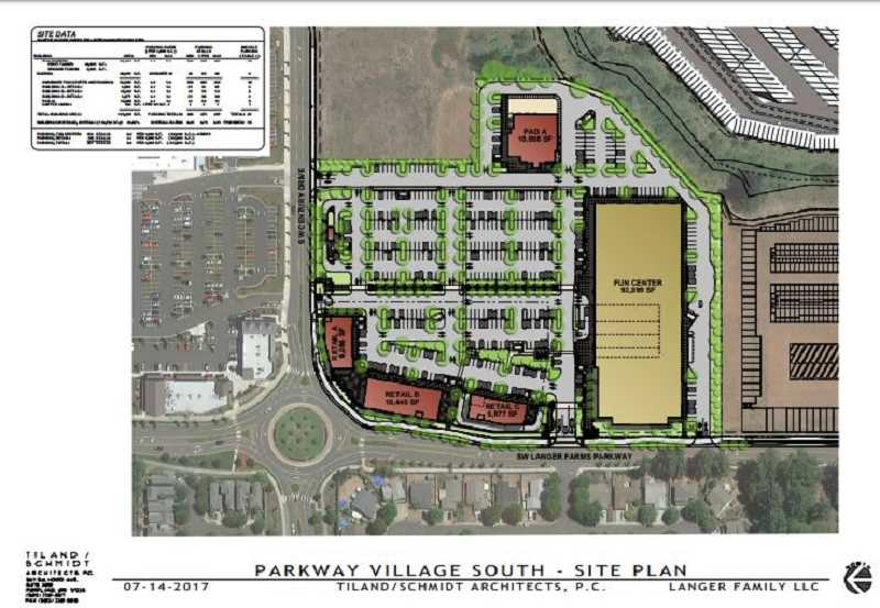 COURTESY CITY OF SHERWOOD - Heres what the footprint of the proposed Parkway Village South on Langer Farms Parkway looks like. The new complex will include a 92,899-square-foot entertainment/fun center.