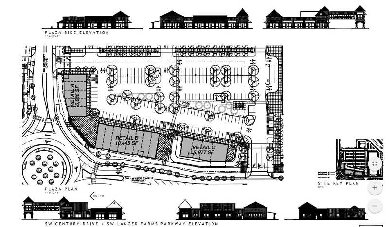 COURTESY CITY OF SHERWOOD - Here's an architectural rendering of three of the retail spaces planned at Parkway Village South, along Langer Farms Parkway at the Century Drive/Langer Farms Parkway roundabout.