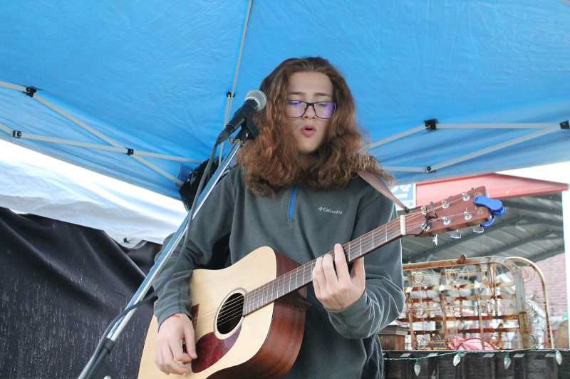 PHOTO BY: CONNOR WILLIAMS - Timothy James, a sophomore at Molalla High School, will play at the unveiling of the Arta Potties in Oregon City.