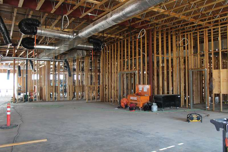 HOLLY M. GILL - The interior of the 13,500-square-foot Plateau Travel Center is framed in and ready for drywall.