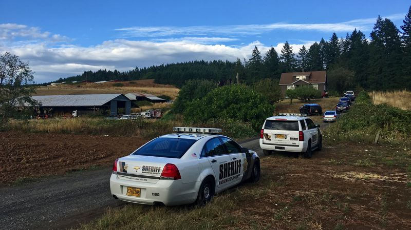 PHOTO COURTESY OF WASHINGTON COUNTY SHERIFF'S OFFICE - Investigators respond Tuesday, Sept. 19, to a shooting in North Plains.