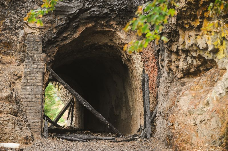 OUTLOOK PHOTO: JOSH KULLA - The iconic Oneonta Tunnel, gutted by the recent Eagle Creek Fire, now faces the danger of collapse.