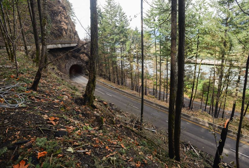 OUTLOOK PHOTO: JOSH KULLA - Interstate 84 eastbound, shown here at the Tooth Rock Tunnel near Eagle Creek, remains closed to vehicle traffic, likely until late Sunday or early Monday morning, according to the Oregon Department of Transportation.