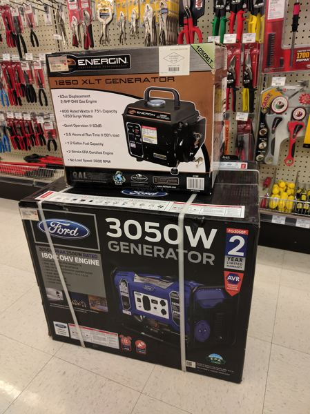 SPOTLIGHT PHOTO: COURTNEY VAUGHN - Portable generators like the ones sold at Ace Hardware can provide power for certain appliances during a power outage. Generators range in size and capacity, and it's important to know how many watts your household appliances use before purchasing a generator.