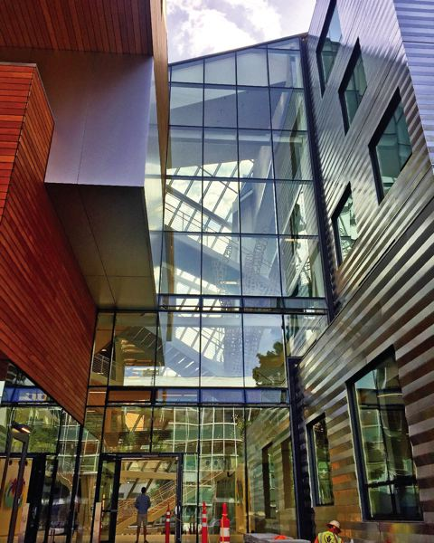 COURTESY: BRIAN LIBBY - There is an extensive use of windows in the new Karl Miller Center at Portland State University.