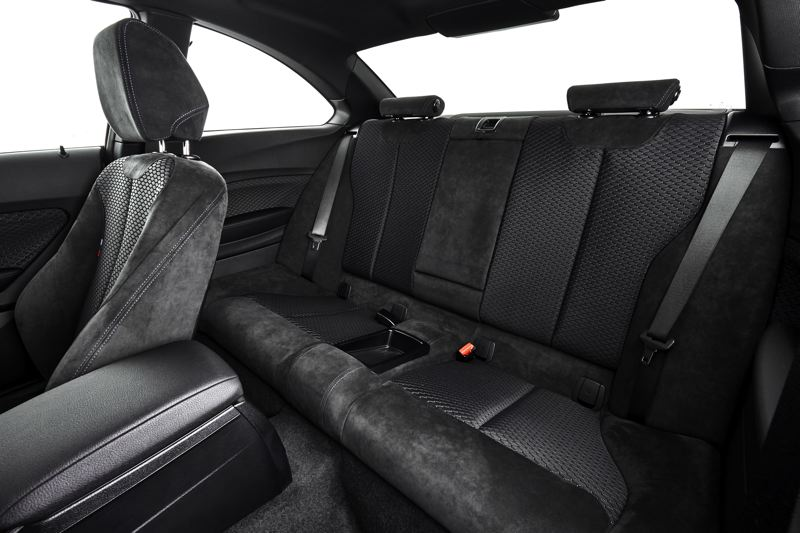COURTESY BMW - Rear seat room in the 2017 BMW 230i is limited, a compromise dictated by its compact size.