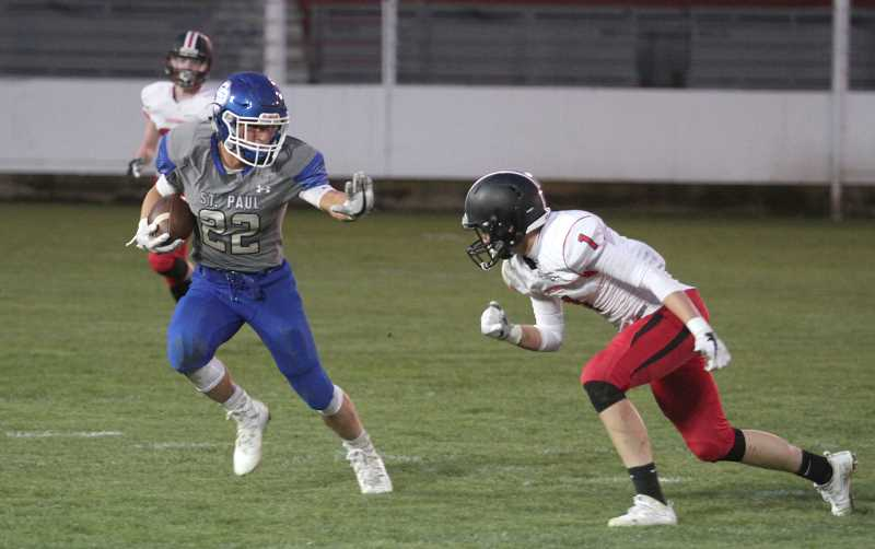 PHIL HAWKINS - St. Paul junior Justin Herberger rushed for 255 yards and four touchdown on seven carries in the Buckaroos' 53-7 victory over the Creswell Bulldogs on Friday.