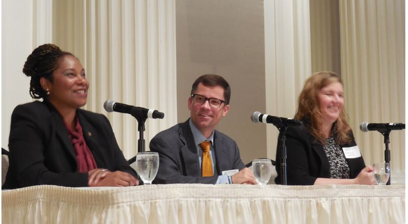 PAMPLIN MEDIA GROUP: JOSEPH GALLIVAN  - (L-R) Janelle Bynum, a first-term state representative from District 51 and owner of four McDonald's franchises, Washington State University professor Jacob Vigdor, and Charlene Wesler, the owner of Gigi's Cafe in Southwest Portland, discuss the minimum wage Wednesday morning at the Portland Business Alliance breakfast forum at the Sentinel Hotel.
