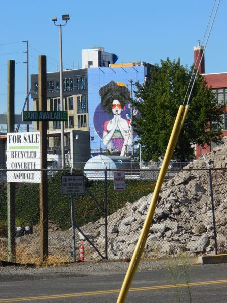PAMPLIN MEDIA GROUP: JOSEPH GALLIVAN - The mural on the new SolTerra headquarters building at 9th and S.E. Division Street symbolizes acceptance.  Artist Fin DAC of London painted it over 12 days in August 2017. SolTerra develops living walls and green roofs. A living wall makes up the hair, which is still growing in, and there will be another one in the lobby. The model was Fin DACs muse, Marisa Ng of San Francisco. SolTerra hopes the mural will brighten up a highly visible corner of the inner southeast. It also covers a concrete wall that covers a stairway. The concrete for the building was poured using Quad-Lock, which is expanded foam panels used as forms and then left in place as insulation.