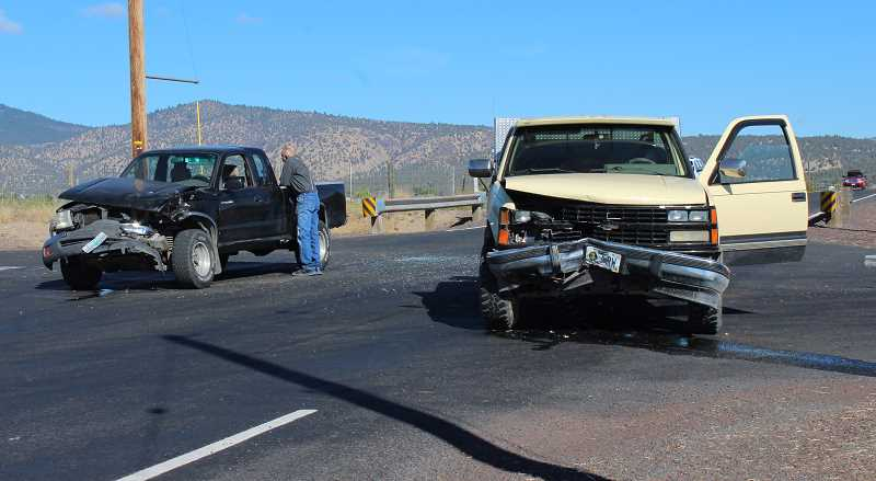 HOLLY SCHOLZ/CENTRAL OREGONIAN - No one was injured in a two-vehicle crash Tuesday morning at the Lamonta and Grimes roads intersection.