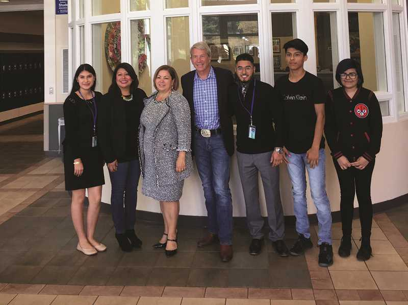 COURTESY PHOTO: CARLEE GRIFFETH - U.S. Reps. Kurt Schrader and Linda Sanchez, along with state Rep. Teresa Alonso Leon, visited Woodburn High School on Sept. 21 to discuss policy with students, including DACA.