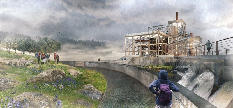 COURTESY WFLP - Artist rendition of Riverwalk concept at the Willamette Falls Legacy Project, which has hit a snag.