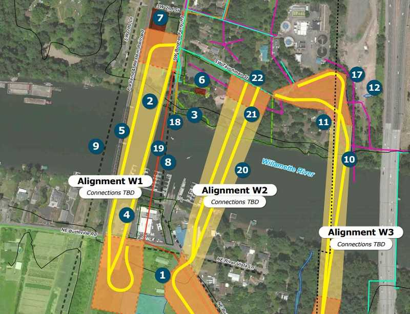 SUBMITTED PHOTO - Of the proposed alignments, the Oregon Department of Transportation (ODOT) said that alignment W3 would fall either on or too close to State owned land that will be used for expanding the Boone Bridge. Yet, without funding in place for that project, consultants havent yet removed W3 as an option.
