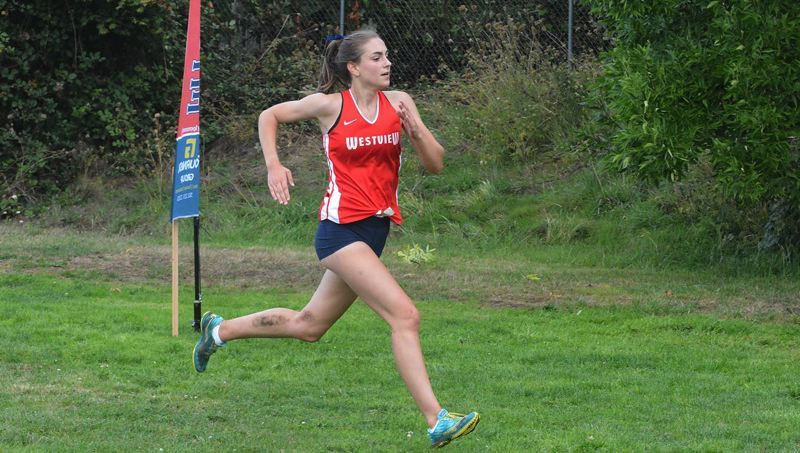 TIMES PHOTO: MATT SINGLEDECKER - Westview senior Isabelle Marcantuono ran to a second place finish for the Wildcat girls cross country team.