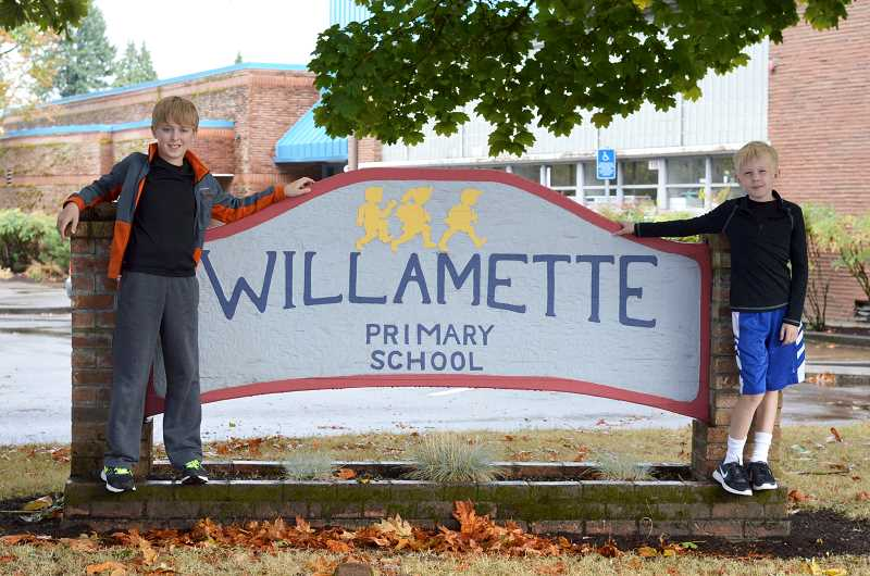 TIDINGS PHOTO: CLARA HOWELL - Fifth-graders Henry Thurman (left) and Rowan Reim (right) have been in the same class every year at Willamette Primary School.