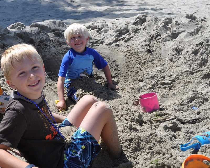 SUBMITTED PHOTO - The friends, Henry Thurman (left) and Rowan Reim (right), often travel to the beach together. This beach trip was was in first-grade.