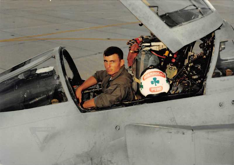PHOTO COURTESY OF JNEANNE THEUS - Lt. Col. Patrick Patrick Gregoire sits in the cockpit of his aircraft. He died in a training accident off the Altantic Coast in 1996.