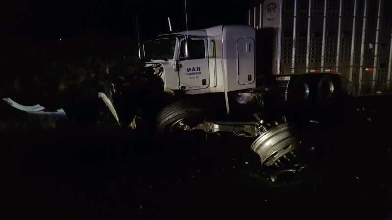 OSP PHOTO - A Bend man died Sept. 20, when his vehicle collided with a semitruck on U.S. Highway 97, south of Madras.