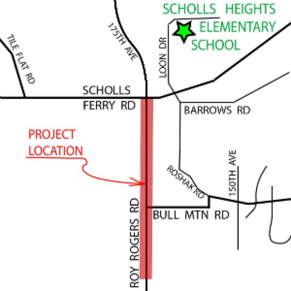 COURTESY OF WASHINGTON COUNTY - A map shows in red which segment of Roy Rogers Road will be improved.
