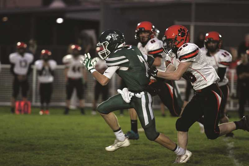 PHIL HAWKINS - Sophomore Brady Hansen had an active night. The receiver caught two passes for 86 yards and a touchdown on offense. On defense, Hansen had a forced fumble, an interception and a fumble return for a touchdown.