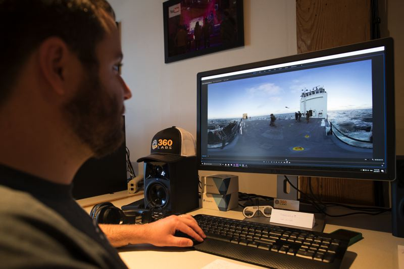 PAMPLIN MEDIA GROUP: JAIME VALDEZ - Forrest Brennan VR Editor + Producer in the office of 360 Labs, editing vidoe for a US Coast guard recruitment piece for teens.