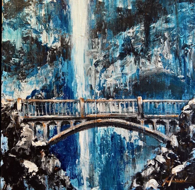 SUBMITTED PHOTO - Milwaukie artist Dan Harrel used cool blues and white to create this painting of Benson Bridge with Multnomah Falls in the background.