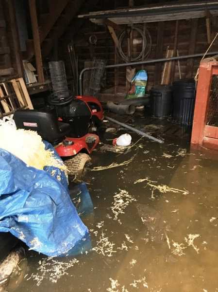 COURTESY PHOTO: JEFF STEWART - The barn where the family houses their more than 20 chickens was flooded with about 16 inches of water.