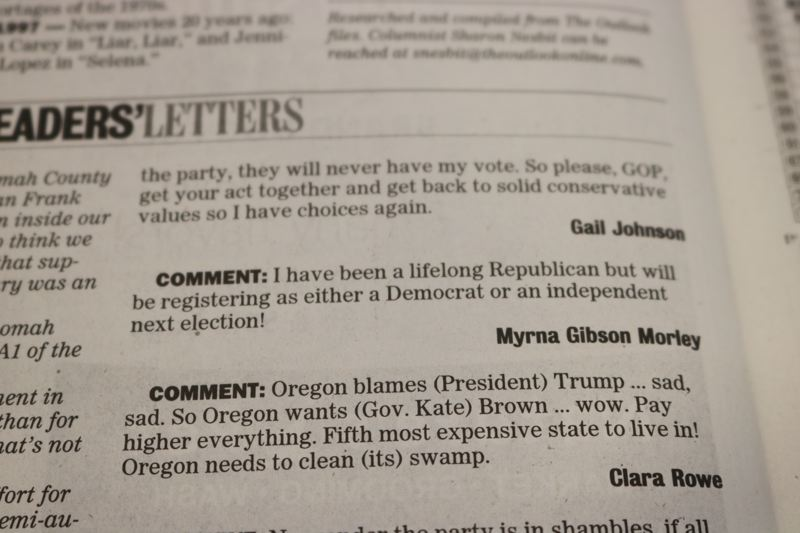 OUTLOOK PHOTO - The story went on to describe a fundraising effort for the county GOP, which is raffling an M&P15, a semi-automatic tactical rifle.