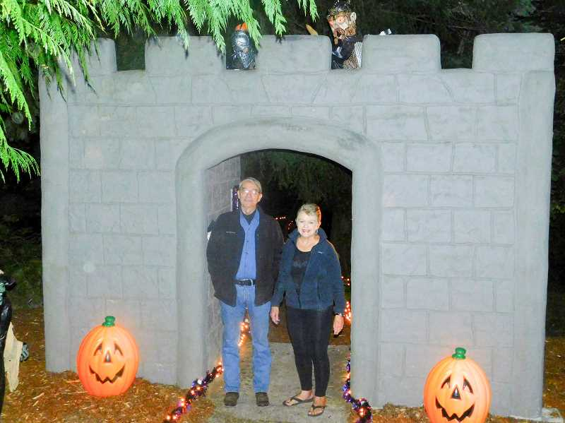 ESTACADA NEWS PHOTO: EMILY LINDSTRAND - Wayne and Janice Wenzel are the forces behind the Halloween Fantasy Trail, which connects families with spooy sights and sounds. The trail is open through Monday, Oct. 30.