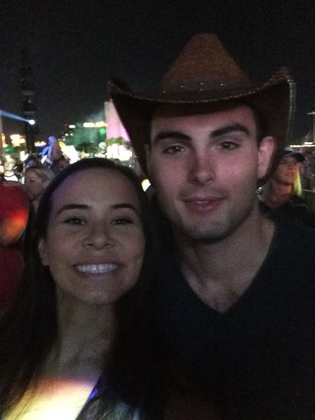 COURTESY OF COLLIN WISEMAN - Collin Wiseman, right, and girlfriend Brooke Freeman took this picture before the shooting at the Mandalay Bay Resort and Casino. Wiseman, a graduate of Beaverton High School, said the couple escaped without injury.