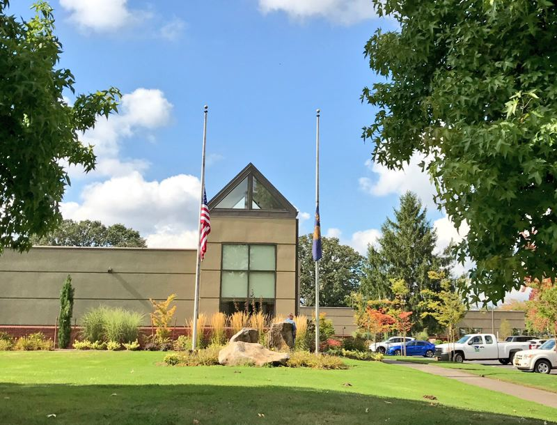 COURTESY OF THE CITY OF TIGARD - Tigard City Hall flies its flags at half-staff Monday after Sunday night's deadly mass shooting in Las Vegas.