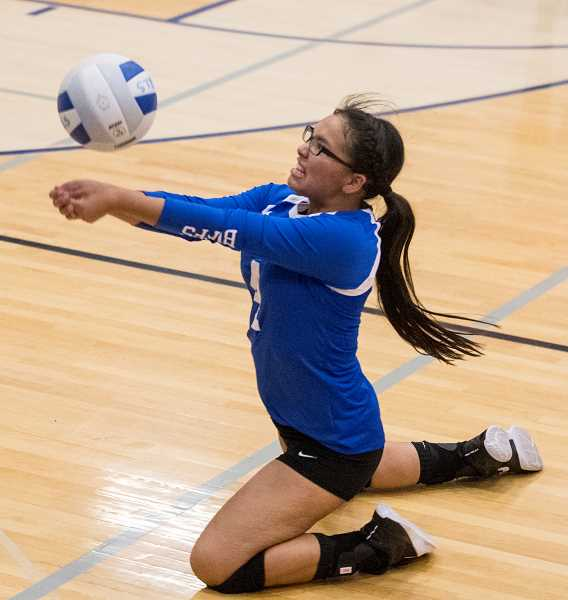 "LON AUSTIN/FOR THE PIONEER - Despite losing to Crook County in straight sets Tuesday, Sept. 26, Madras setter Niyallee Cochran (above)said afterwards, ""None of us are down. We played our hardest."""