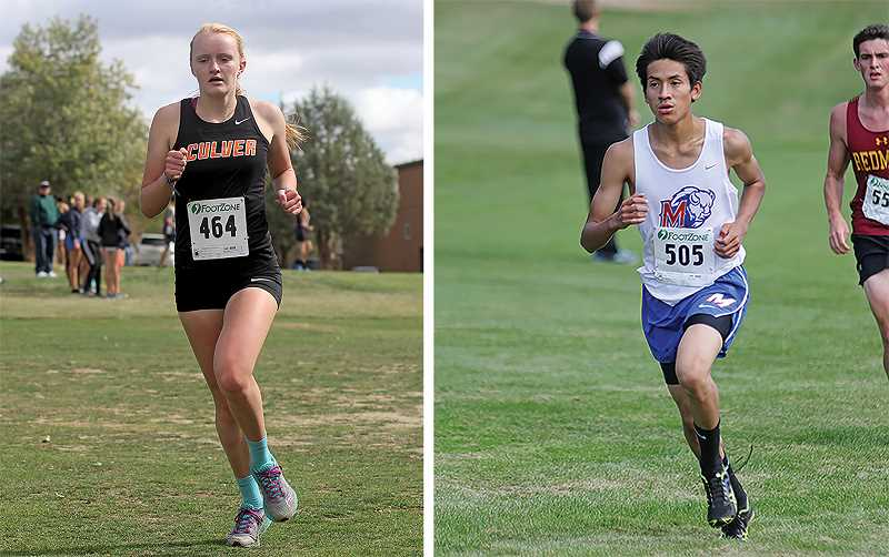 WILL DENNER/MADRAS PIONEER - In each team's lone Jefferson County meet of cross country season, Culver and Madras runners found success at the Kah-Nee-Ta Invitational last Saturday. Culver senior Emma Knepp (left) finished third in the girls varsity race (21 minutes 19 seconds), and in the boys varsity race, Madras senior Tyler Anderson (right) took fourth (17:38).