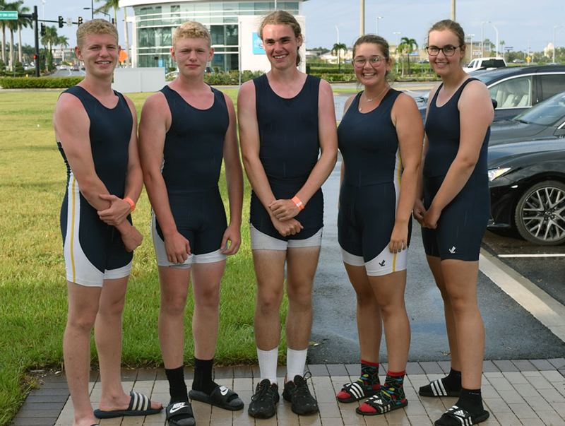 SUBMITTED PHOTO - Representing Lake Oswego Community Rowing in the Youth Regional Challenge were (left to right) Will LaFond, Ben LaFond, Adrian Edwards, Abigail Brown and Alex Edwards. Will, Ben, Adrian and Abigail attend Lake Oswego High School, while Alex attends Lake Oswego Junior High.