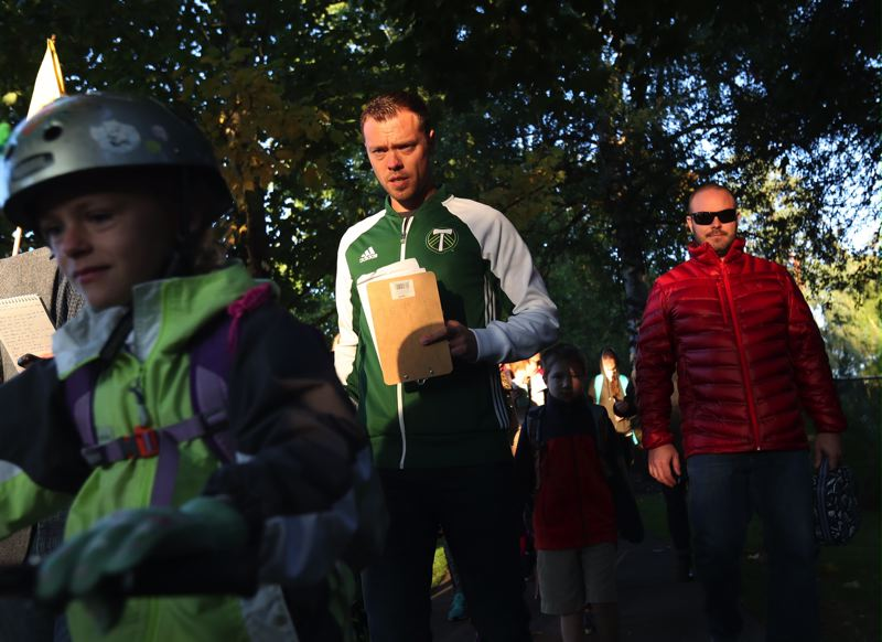 TIMES PHOTO: JAIME VALDEZ - Jack Jewsbury, retired Portland Timbers FC midfielder, was a special guest for Tigard's International Walk and Bike to School Day program in the Summer Lake neighborhood on Wednesday.