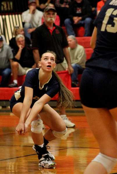 COURTESY PHOTO: BRAD MOSHER - Banks' Ellie Schmidlin focuses on a dig during the Braves' match with Tillamook Thursday, Sept. 28.