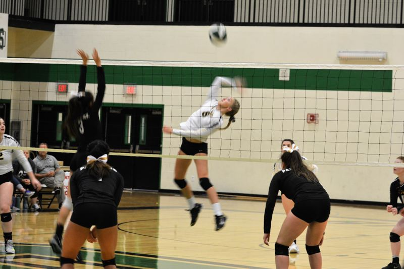 SPOTLIGHT PHOTO: JAKE MCNEAL - Lions freshman outside hitter Savannah Moore (8) fires.