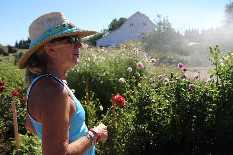 REVIEW PHOTO: SAM STITES -  Barbara LÍscher surveys her flowers as she waters them on a hot September afternoon.