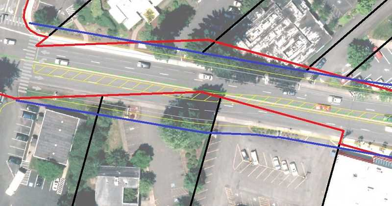 PHOTO COURTESY OF CITY OF LAKE OSWEGO - An aerial survey map from the Boones Ferry Road project website illustrates the problem: The red lines mark the border between the existing right-of-way and the adjacent properties, which are outlined in black. Three properties extend into areas that are part of the physical road as it exists today. The blue lines mark the edges of expanded right-of-way that will be created by the upcoming Boones Ferry Road project.