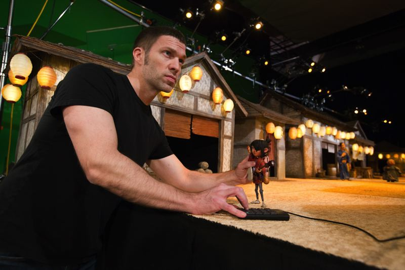 COURTESY: LAIKA/FOCUS FEATURES - Travis Knight, son of Nike owner Phil Knight, holds a Kubo puppet. The lead animator at Laika and CEO made his directoral debut with 'Kubo and the Two Strings,' which went on to receive two Oscar nominatons. The studio's creative work will be on display at Portland Art Museum from Oct. 14 through May 20, 2018.