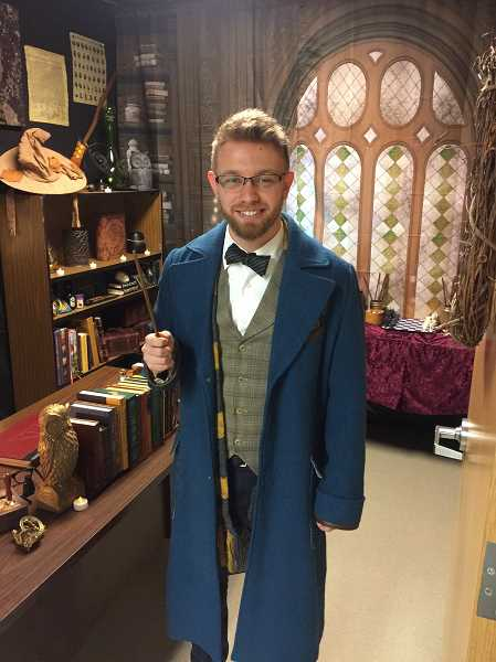 COURTESY PHOTO - Evergreen Middle School math teacher Kyle Hubler grew up reading the Harry Potter books, and has decorated his classroom to look like the series magical school, Hogwarts.