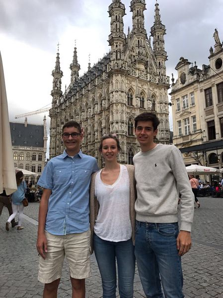 COURTESY OF LOGAN JETT - Tigard High junior Logan Jett, left, with his host siblings in Brussels, Belgium.