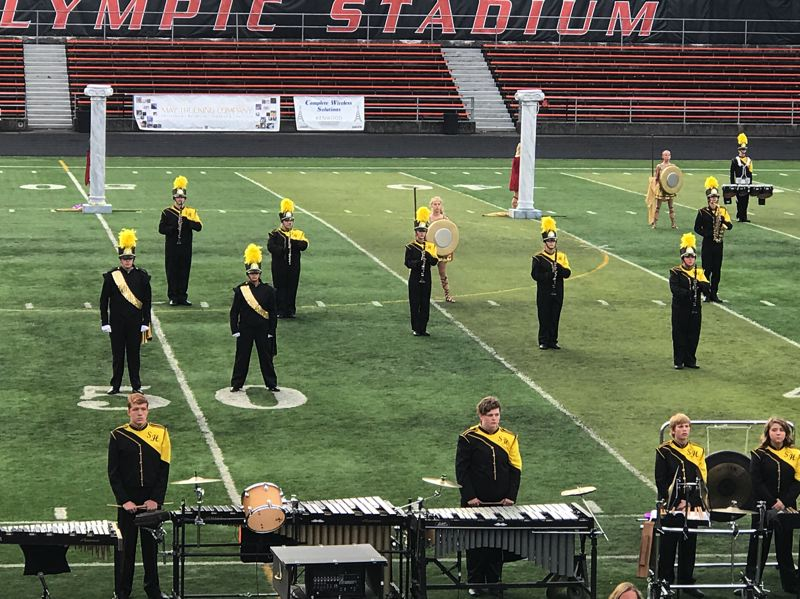 PHOTO COURTESY OF KRISTINA SAUL - The St. Helens High School marching band and color guard took at the Pacific Coast Invitational on Saturday, Sept. 30 in Salem.