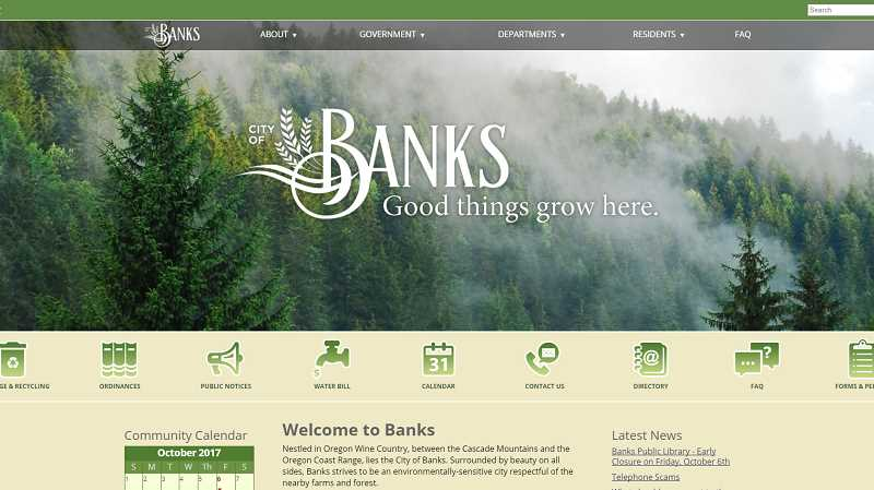 NEWS-TIMES PHOTO - The new city of Banks website is more user friendly and will eventually feature photos submitted by community members.