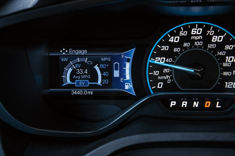 FORD MOTOR COMPANY - Battery levels and other information for monitoring the performance of the 2017 Ford C-Max Energi are displayed on the dash.