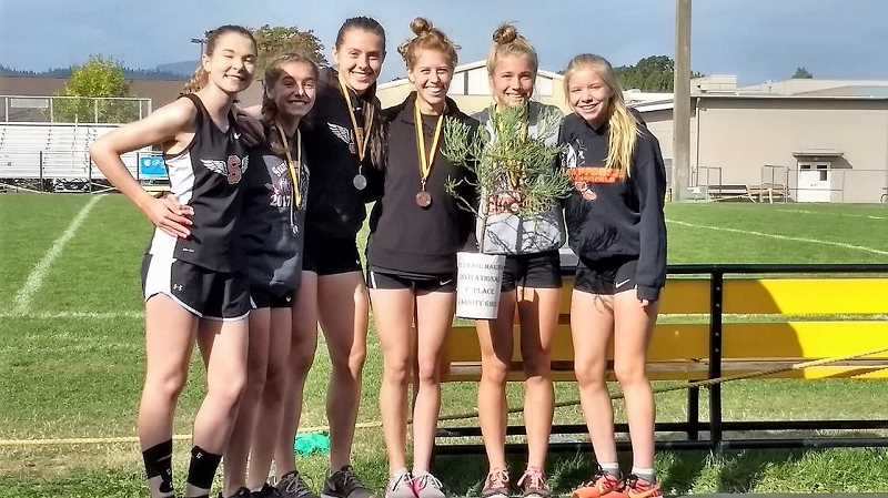 PHOTO CREDIT: SCAPPOOSE CROSS COUNTRY - From left, Alyson Worthington, Tess Conway, Linnaea Kavulich, Georgia Benner, Emma Jones and Tessa Davidson won the Paul Mariman Invitational girls' championship with 37 points over Siuslaw (59) and Philomath (74).