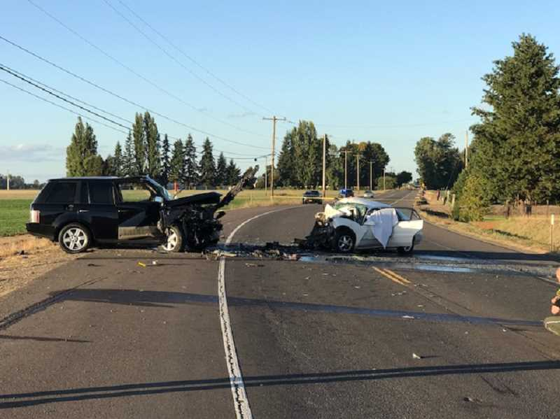 PHOTO: OREGON STATE POLICE  - Lisette Medrano-Perez, 25, of Molalla, was driving a Buick Century southbound on OR 99E while Favian R. Garcia, 27, of Gervais, was traveling northbound in a Landrover when the two vehicles collided head-on while negotiating a corner.