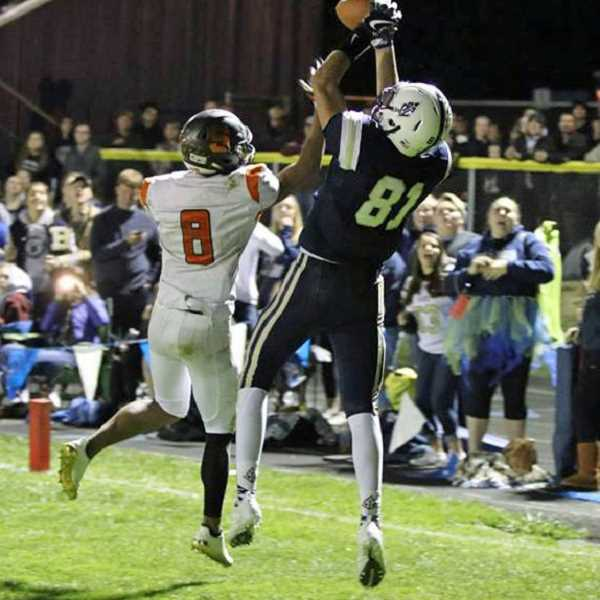 COURTESY PHOTO: STEWART MONROE - Banks' Blake Gobel goes up for a catch late in the game against Scappoose Oct. 6 at Banks High School. Gobel had three touchdown catches in the game.