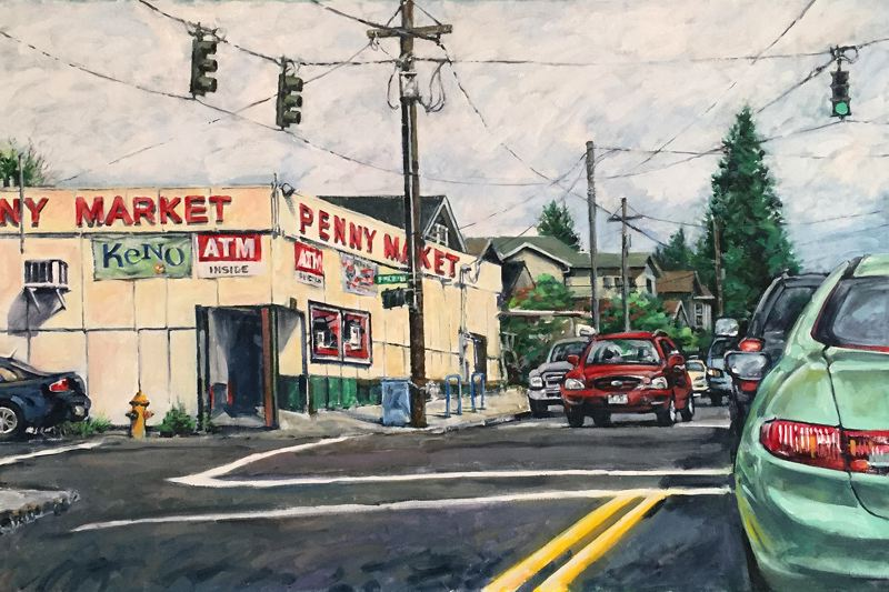SUBMITTED PHOTO - Oregon City resident Dennis Anderson's painting depicts the Penny Market, a familiar sight on the corner of Southeast 20th and Stark Street in Portland.